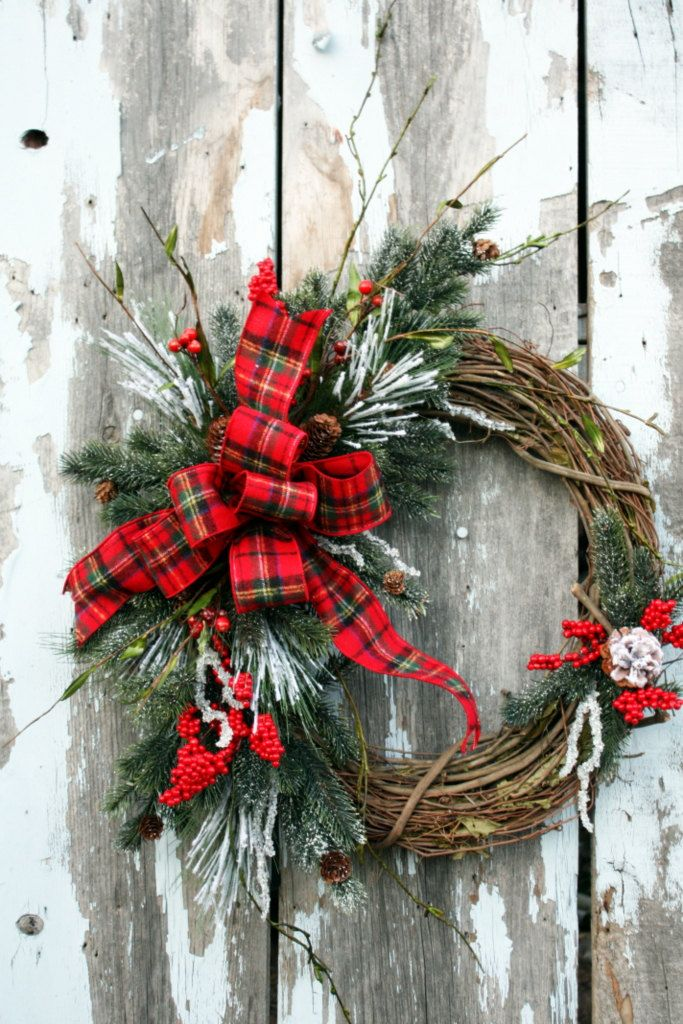 Christmas Wreath Snowy Pine Red Berries Flannel Plaid