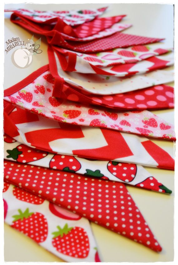 Strawberry garland for baby.  Bunting Banner . Flag Bunting . Pennant Banner . Flag Garland . Party Decoration .