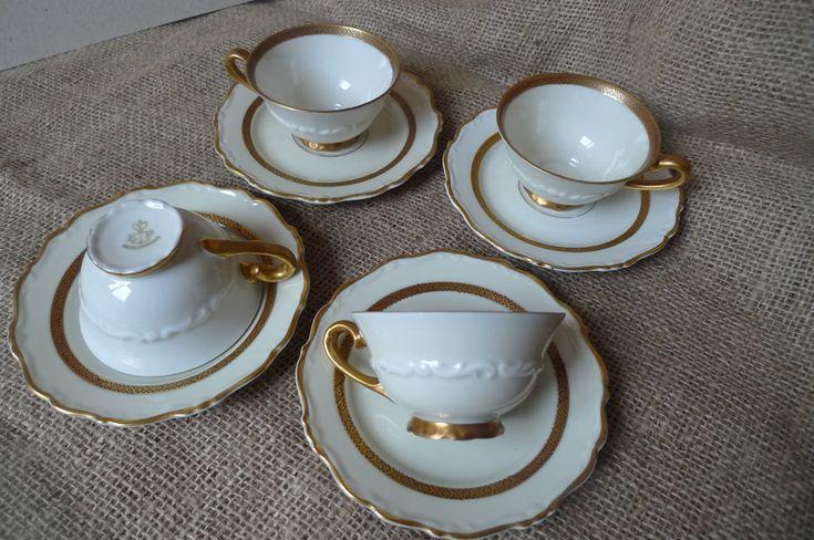 Vintage Scandinavian Pottery Sweden KP Karskrona 4 x Cup & Saucer set service