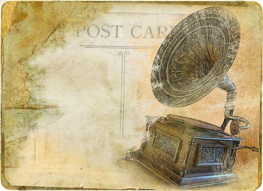 Ταχυδρομική κάρτα με γραμμόφωνο | Vintage