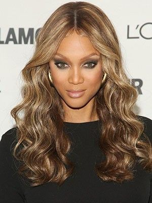 Tyra Banks Long Wavy Lace Front Human Hair Wig