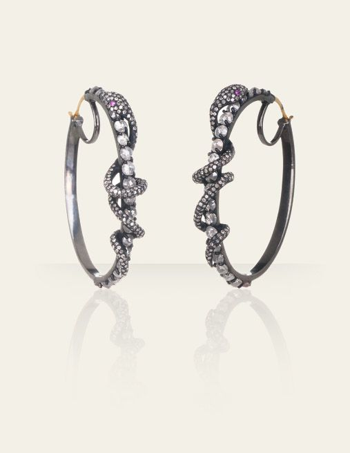 Georgina wore these Wrap Snake Hoops by Danielle Queller on last night's series finale of Gossip Girl
