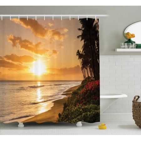 Hawaiian Decorations Shower Curtain Set, Warm Tropical Sunset On Sands Of Kaanapali Beach In Maui Hawaii Destination For Travel, Bathroom Accessories, 69W X 70L Inches, By Ambesonne