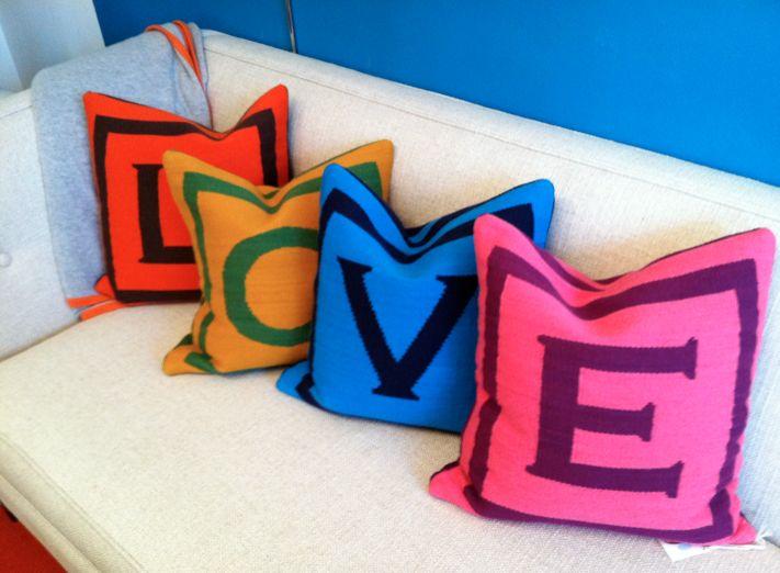 pillowsDecor, Colors Mania, Adler Pillows, Letters Pillows, House Ideas, Colors Letters, Jonathan Adler Downstairs, Colors Pillows, Bright Colors
