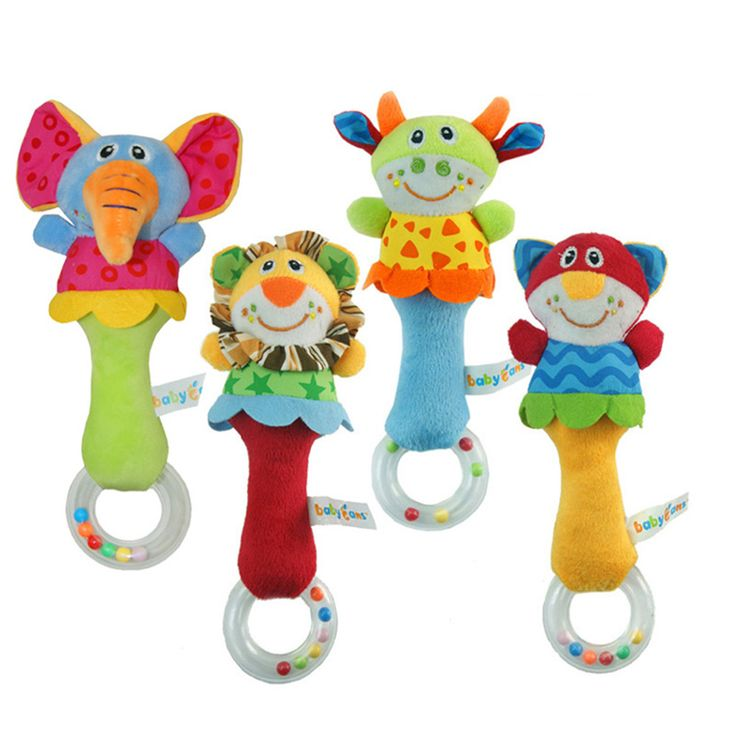 1 Pcs 4 Gaya Baru Pembangunan Bayi Guncang Lonceng Tangan Mainan hewan Desain Kartun Lembut Stuffed Mainan Bayi Bayi Mewah Terbaik hadiah