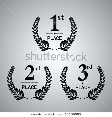 First, second and third place icons. Award symbol set. Award label. Vector illustration.