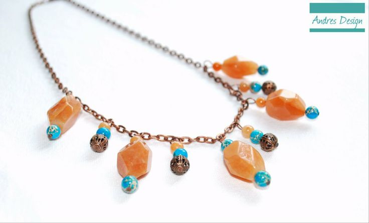Red semiprecious agate and blue jasp necklace with copper color accessories