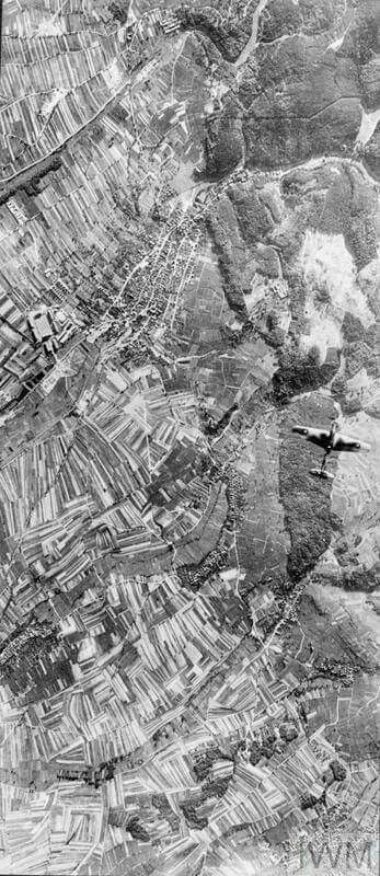 A Fairey Battle of the Advanced Air Striking Force passing over Bad Bergzabern (lower left) and Klingenmünster (upper right) during a reconnaissance of the Siegfried Line fortifications west of Karslruhe, Germany. The vulnerability of the Battle and the absence of adequate fighter cover led to the abandonment of these reconnaissance operations by the AASF by early October 1939.