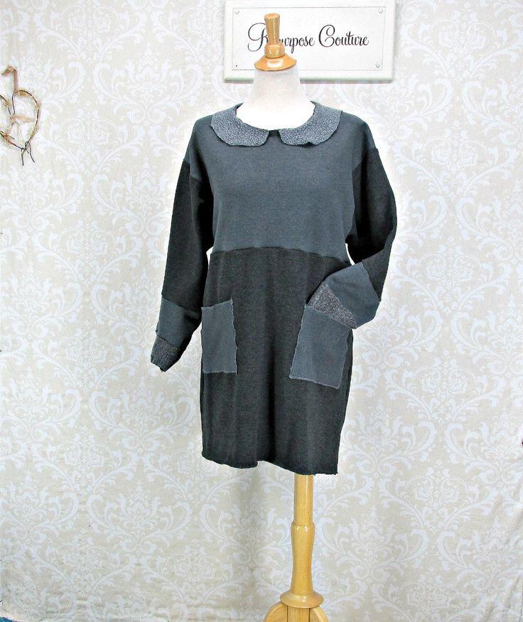 Sweatshirt Dress, Womans Large XLarge, Upcycled Clothing,Womans Tunic,Repurposed Clothing,Womens Tunic Dress,Grey Sweatshirt,Patch Pockets by RepurposeCouture on Etsy