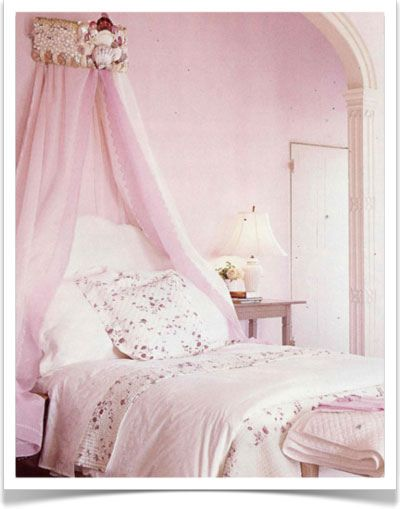 pale pink walls and tiny floral bedroom linens, and a fabulous seashell cornice dripping with pink, rustic and feminine and boho ...seashell by {this is glamorous}, via Flickr