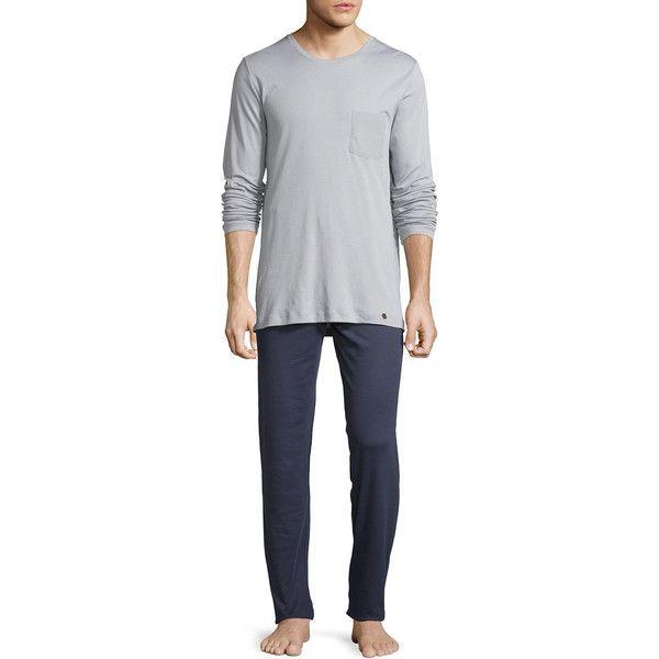 Hanro Men's Night & Day Long-Sleeve Pajama Set (625 BRL) ❤ liked on Polyvore…