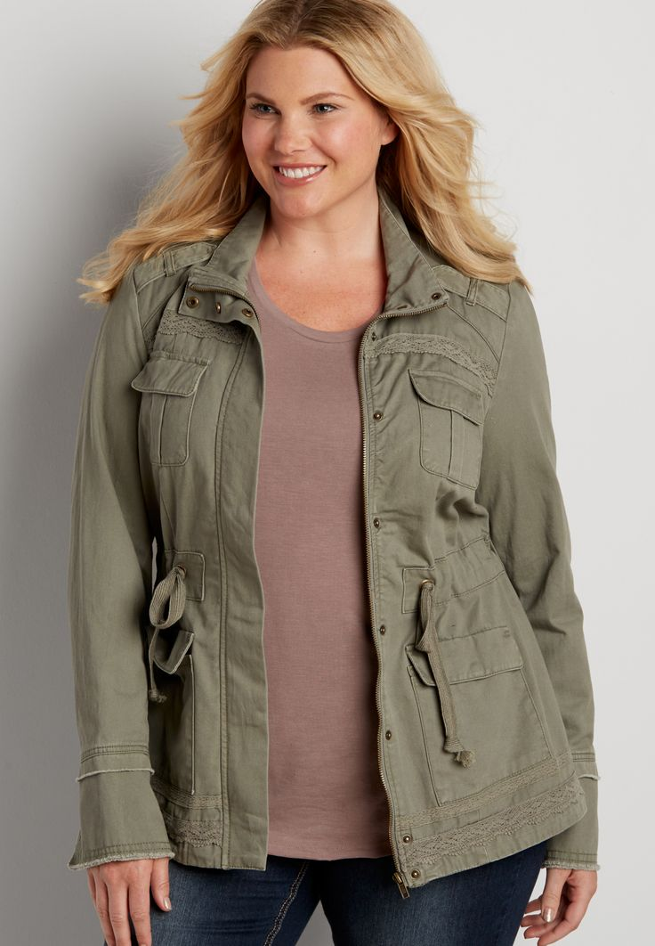 plus size military jacket with lace trim (original price, $59.00) available at…