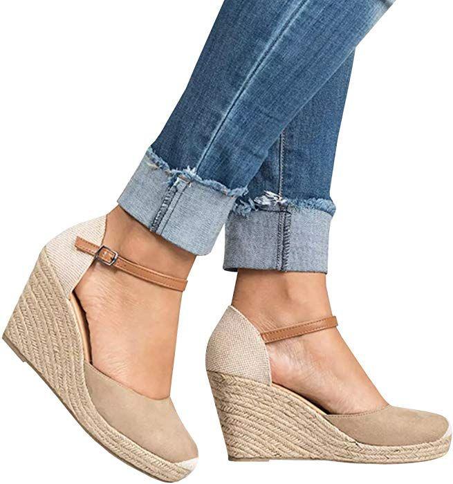 58a36e2d37da3 Amazon.com: Enjoybuy Womens Wedge Heels Espadrille Sandals Ankle ...
