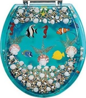 Blue Seashell Fish #Tropical #Toilet Seat for Sea Decorating Fun Beach Theme Bathroom with Splashy Waters Beachy Ocean