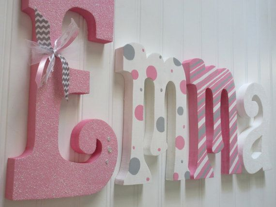 Hanging nursery letters, nursery letters, baby girl nursery letters, pink, white, grey, nursery decor, nursery wall letters on Etsy, $48.00