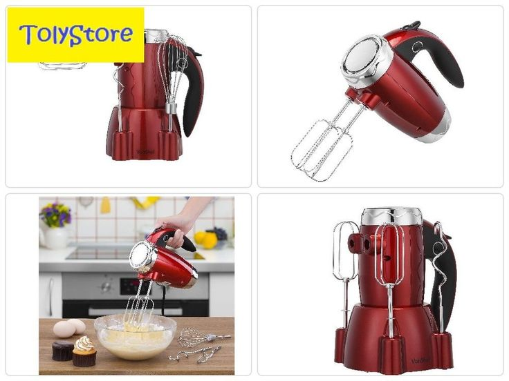 Hand Mixer Electric Kitchenaid Whisk With Stand Dough Hooks And Beaters 6 Speed #VonShef