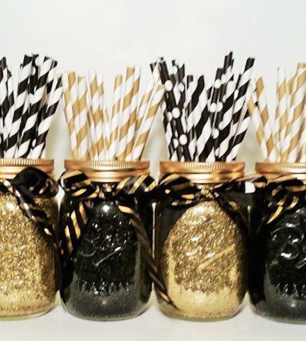 New Years Eve mason jar centerpieces