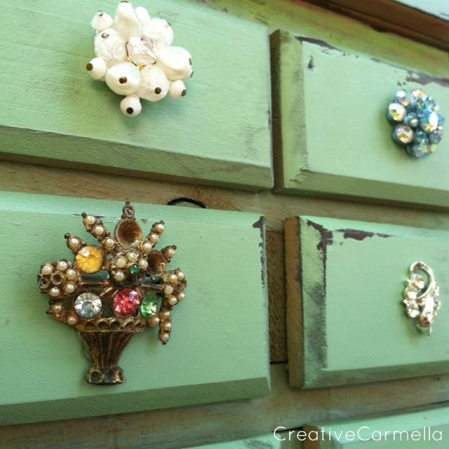 "Creative Carmella: Jewelry Box Makeover....Giving It Some Bling...she uses Vaseline for the distressed parts, no sanding required...ingenius!  Krylon ""Pistachio"""
