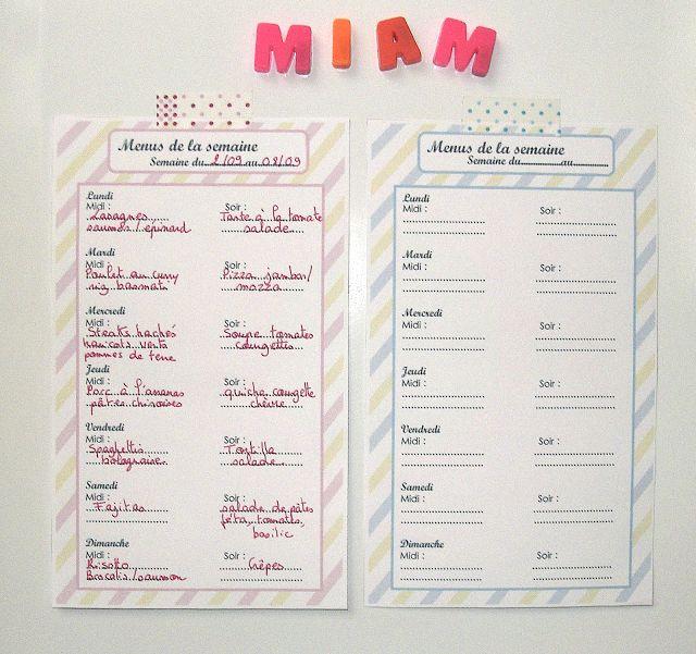 Planning pour les menus de la semaine à imprimer