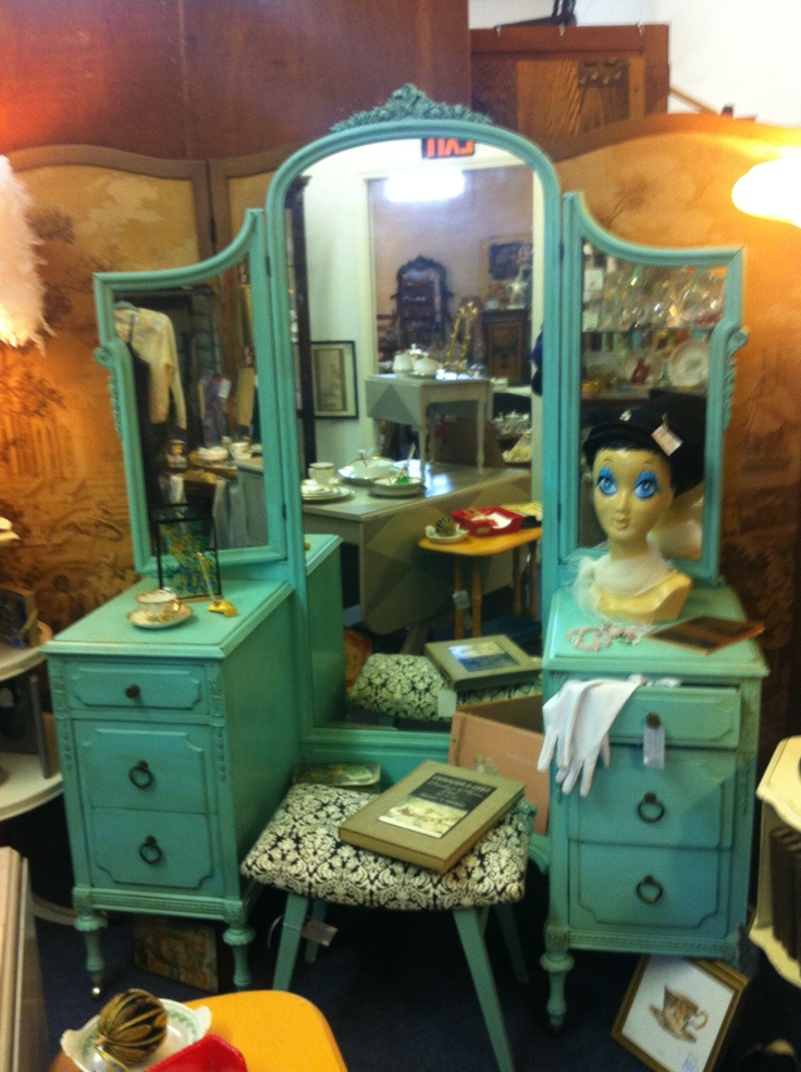 Big Mirror Stand Antique Vanity Painted Tiffany Blue Antique Vanity Aqua