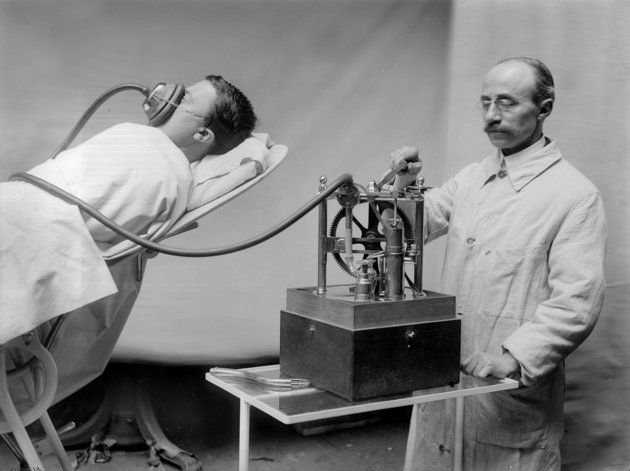 And what an anesthesia machine looked like in 1913: R. Dubois anesthetizing machine in France, circa 1913. We forget how young medicine is.