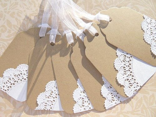 Wedding Gift Tags - Kraft Paper and Doily Gift Tags -  Bridal Shower Gift Tags - Wish Tree Gift Tags - KPDLGT. $6.00, via Etsy.
