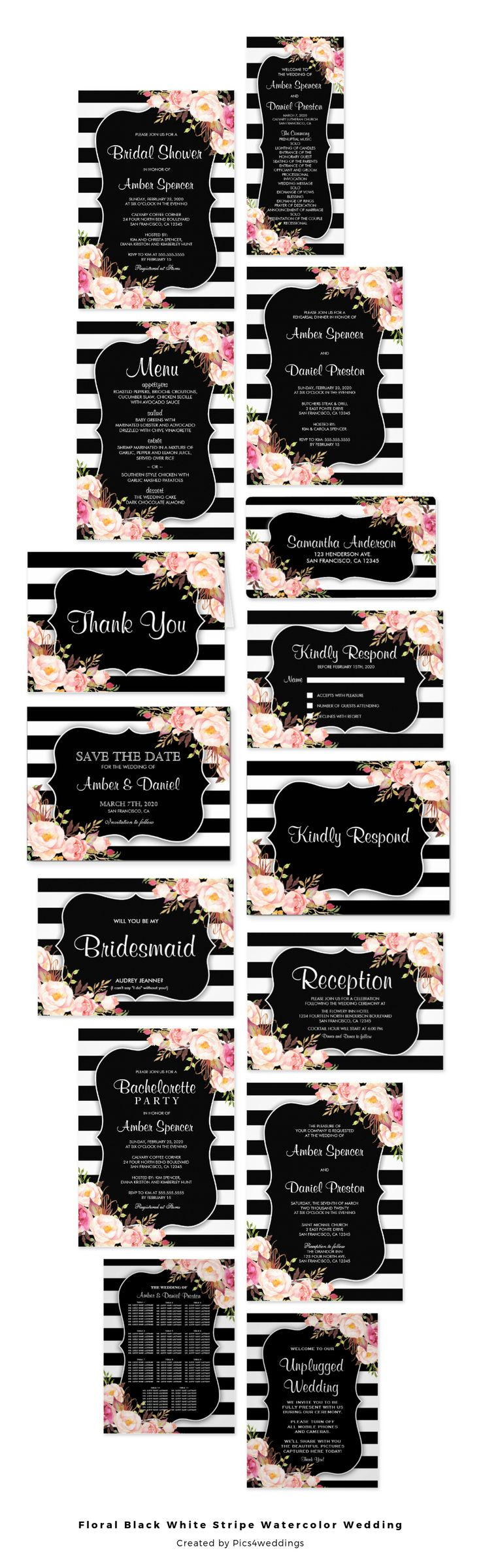 funny wedding invitation rsvp goes viral%0A An elegant floral black and white stripe wedding invitation set  featuring  pretty pink watercolor flowers