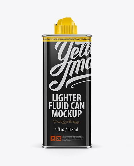 Lighter Fluid Can Mockup – Front View
