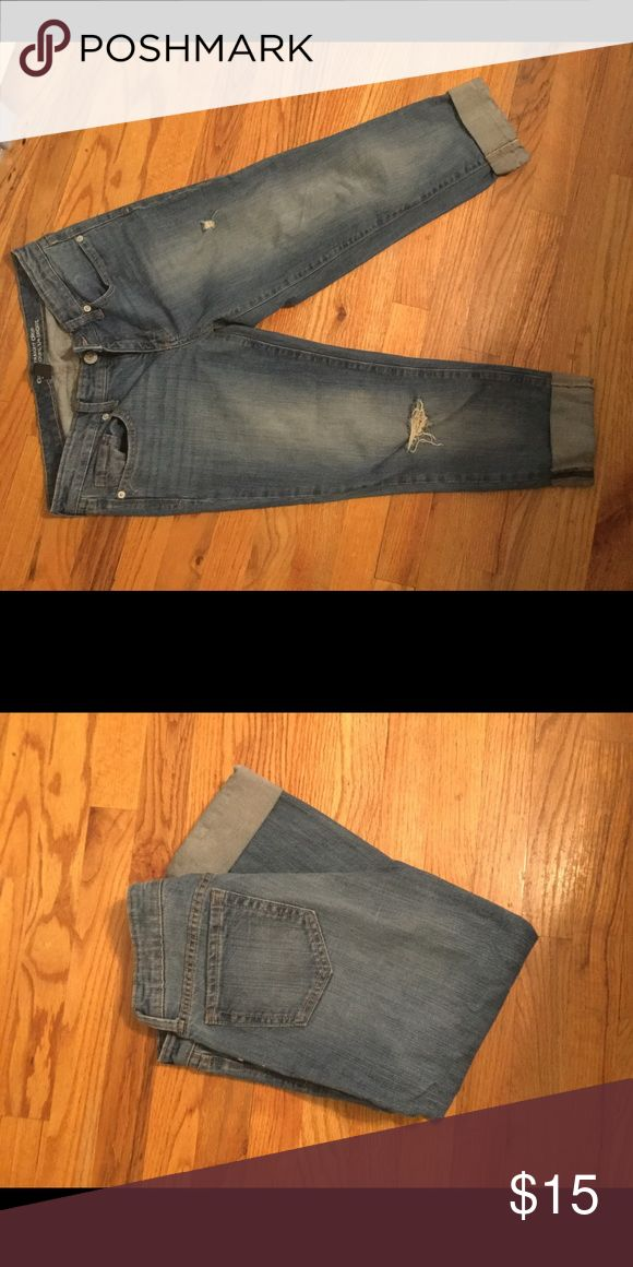Gap outlet distressed crop jeans Gap outlet distressed crop jeans. I would love them if I hadn't been talked into buying a size too small by someone who thinks my pant size is a big deal. Worn maybe three times. GAP Jeans Ankle & Cropped