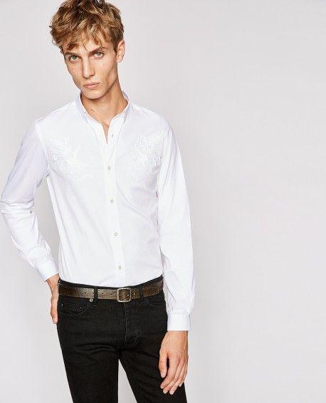 Weißes Paper-Popeline-Hemd mit Blumenstickereien