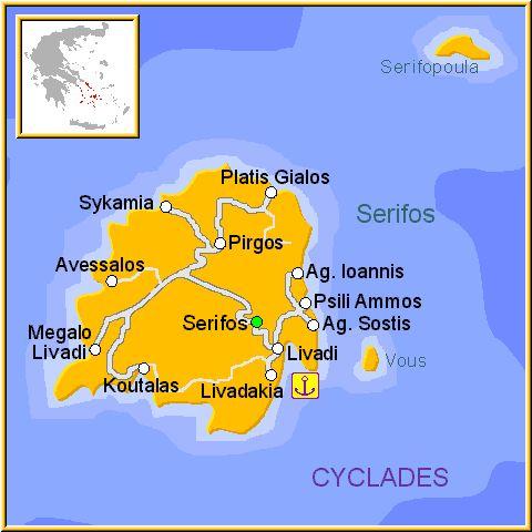 Mapa de la isla de Serifos, en las Islas Griegas Cícladas, Cýcladas, Grecia.