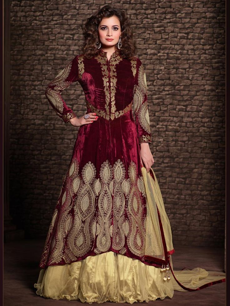 Red with Beige Heavy Embroidered Anarkali Lehenga