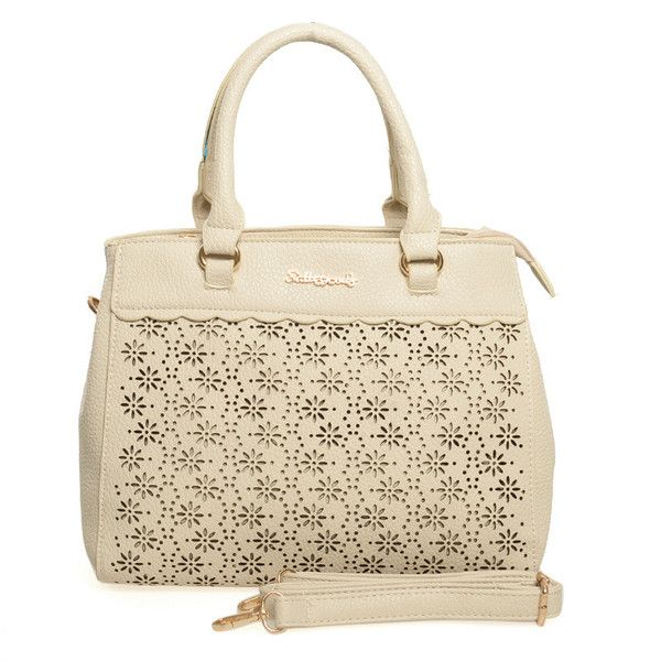 Beige  -  Lady Style Floral Hollow Out Handbag Women Shoulder Bag. £21.99