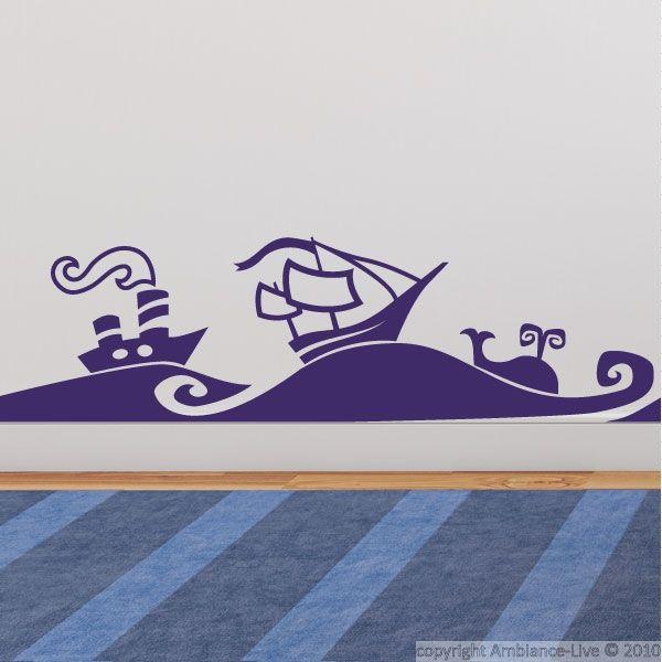 Sticker bateaux et vagues de mer - Stickers enfants | Ambiance-sticker.com