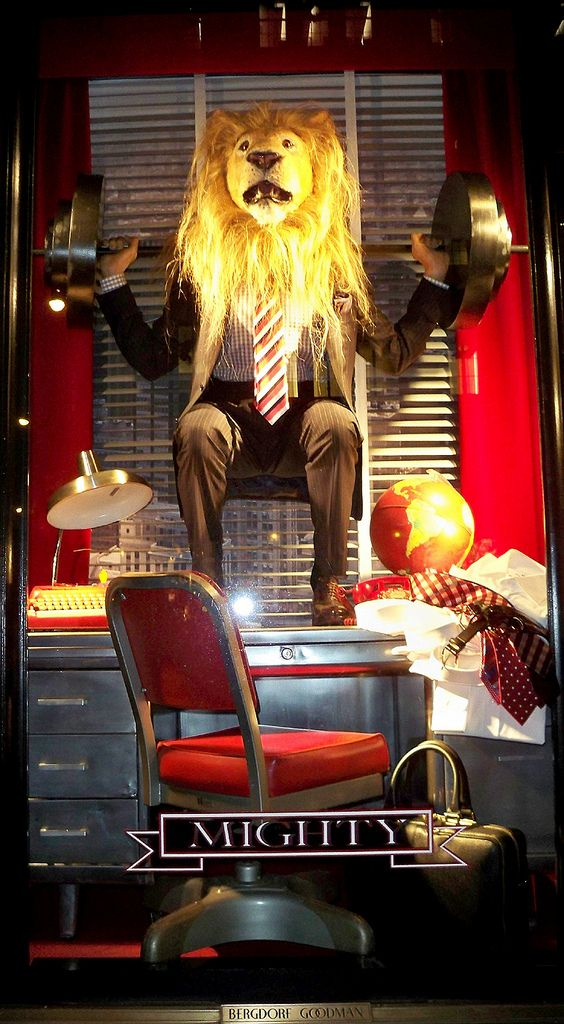 A Bergdorf Goodman Christmas window display for its men's store.