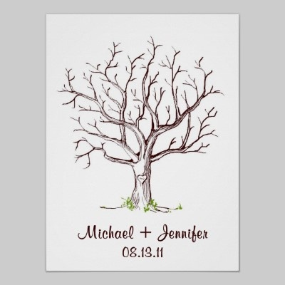 wedding tree guest book free template - wedding fingerprint tree poster brown trees wedding