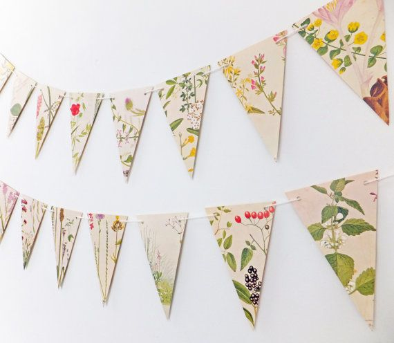 Flower Bunting Recycled Paper Garland by peonyandthistle on Etsy
