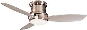 """52"""" Concept II Wet Rated Flush Mount Ceiling Fan In Brushed Nickel 