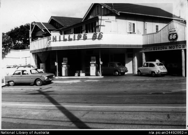 Side view of Phillips 66 service station showing Europa motors, Sandgate Road, Albion, Brisbane [picture] .