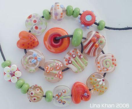 lina khan lampwork beads tirajana girly bead set with flowers and hearts
