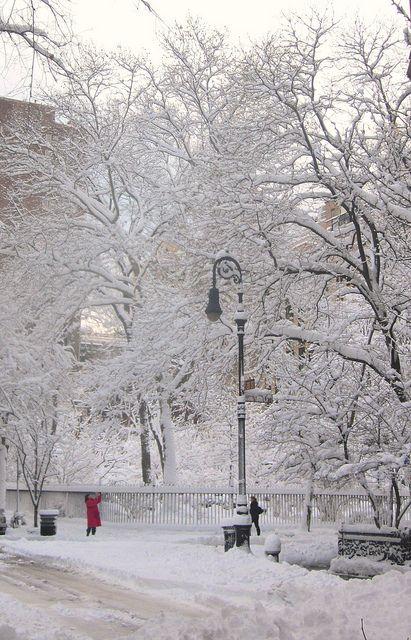Gramercy park in snow. New york city winter.