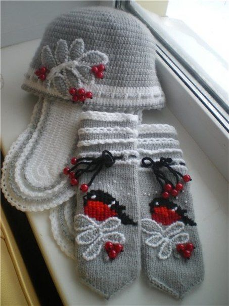 Вяжем спицами шапку и шарфик. Вязаные спицами варежки | 3vision - Fashion blog