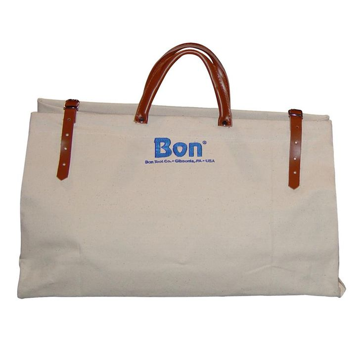 Bon Tool 20 in. Canvas Tool Bag with Leather Straps, Beige