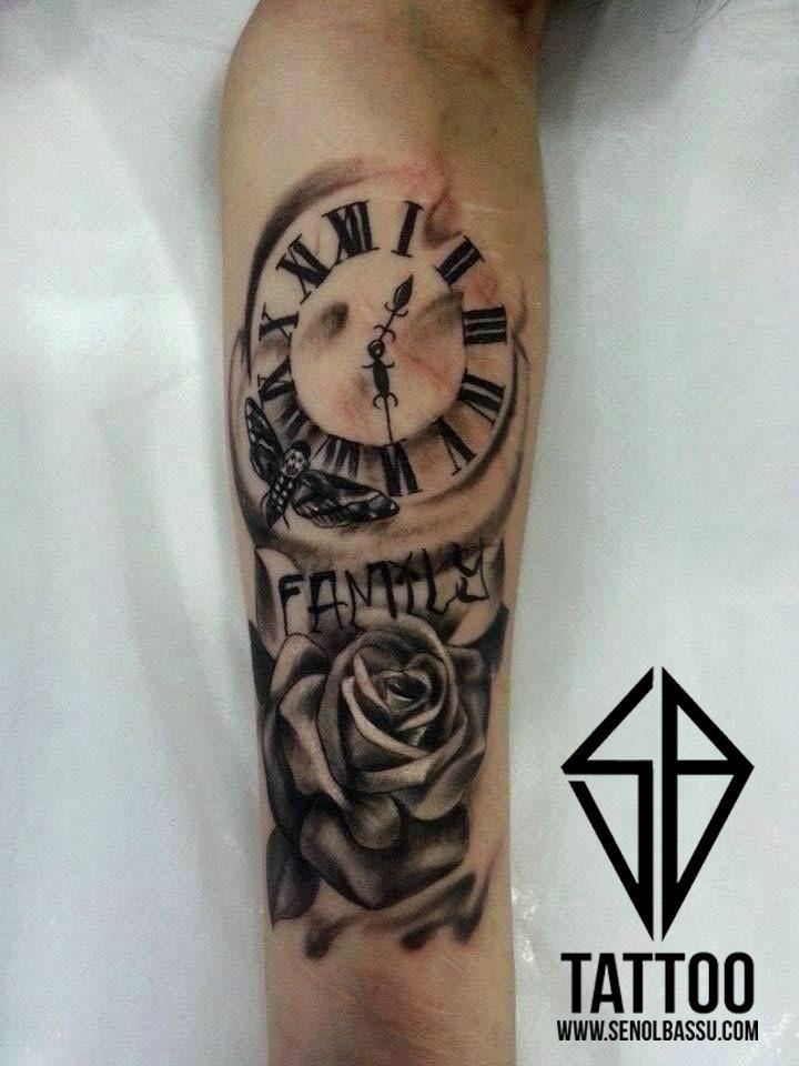 Rose & Clock tattoo work