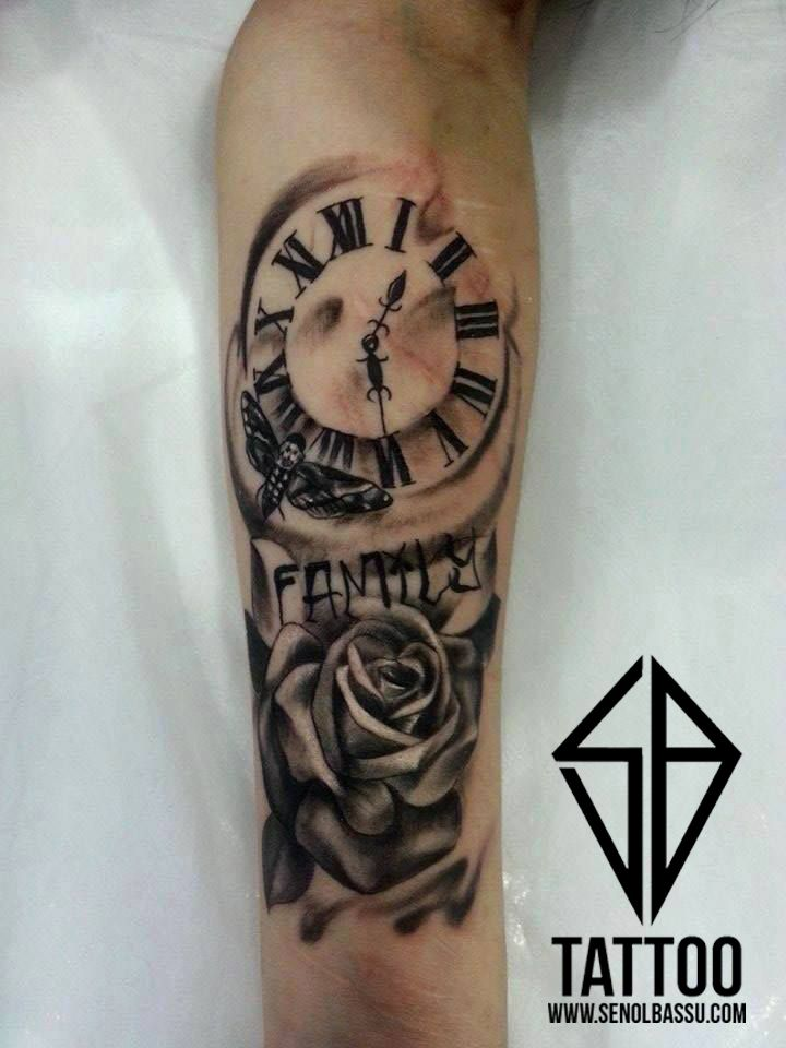 Rose & Clock tattoo work