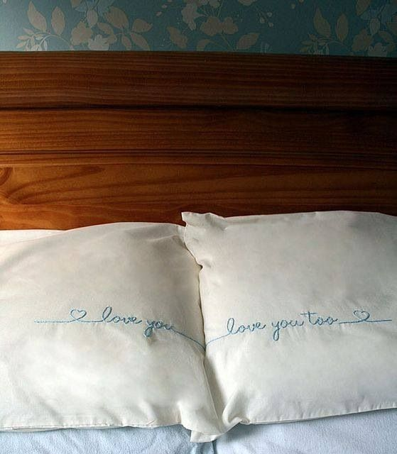 """DIY stitched """"I love you, I love you too"""" couple pillows"""