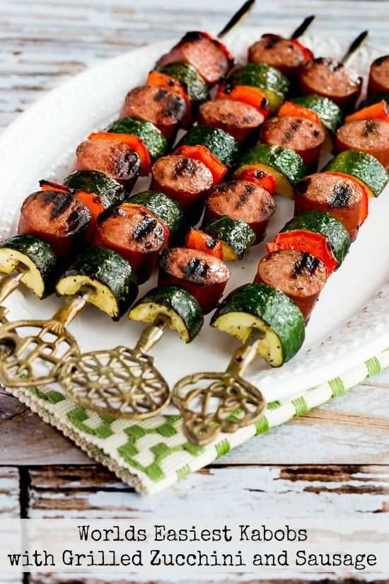 World's Easiest Kabobs with Grilled Zucchini and Sausage featured in Low-Carb Recipe Love on Fridays (6-24-16) found on KalynsKitchen.com