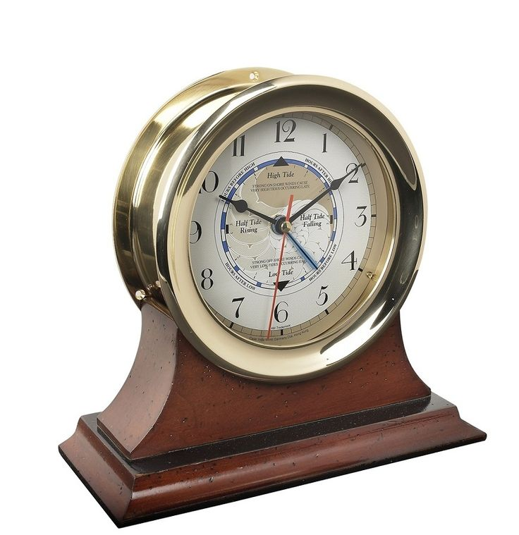 time and tide clock in brass with mahogany wood base - Tide Clock