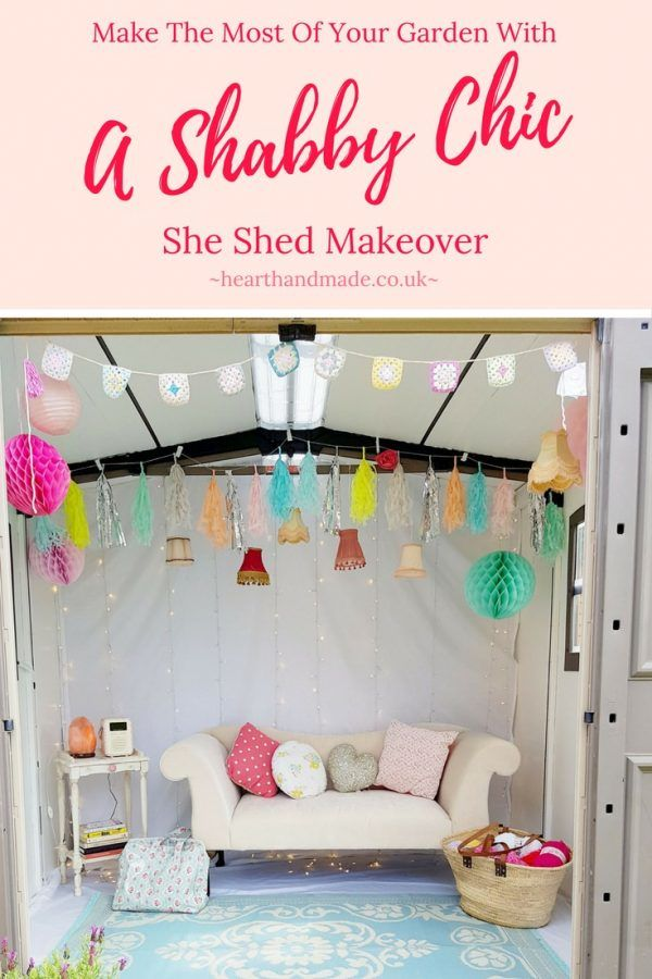 Do you need some cheap, easy, DIY shed makeover ideas? Click through to see how I transformed the interior of my plastic garden shed into a fantastic she shed without giving up all of the storage space. http://www.hearthandmade.co.uk/shabby-chic-shed-makeover/?utm_campaign=coschedule&utm_source=pinterest&utm_medium=Heart%20Handmade%20UK&utm_content=Make%20The%20Most%20Of%20Your%20Garden%20With%20A%20Shabby%20Chic%20She%20Shed%20Makeover
