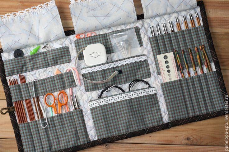 Купить Текстильный органайзер для инструментов Гербарий. Японский пэчворк. - разноцветный, шитье, органайзер для рукоделия